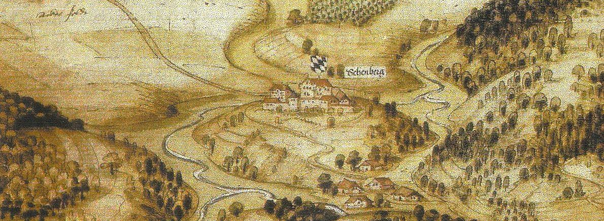Älteste Darstellung von Schönberg aus dem Jahre 1594